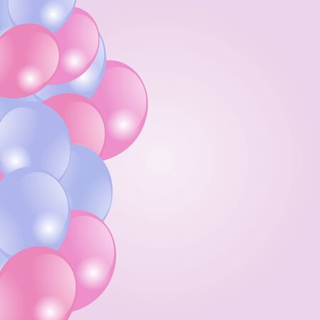 Colorful balloons isolated on pink background. Vector Illustration Stock Illustratie