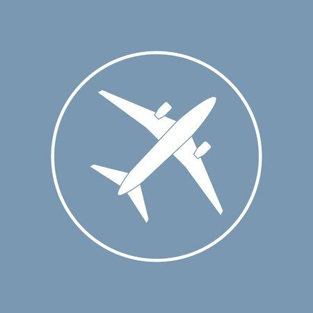 Airplane icon flat design on blue background. Vector illustration. Ilustração