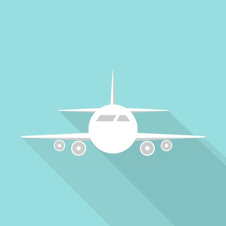 Airplane icon long shadow design on green background. Vector illustration.