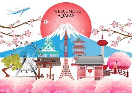 travel postcard, tour advertising world famous landmarks of Japan - Vector illustration. Ilustração
