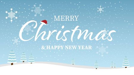 Merry Christmas and Happy New Year typographical on blue background with winter landscape with snowflakes. Vector illustration