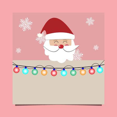 Christmas background, Santa Claus with signboard and light bulb with free text space. Vector illustration.