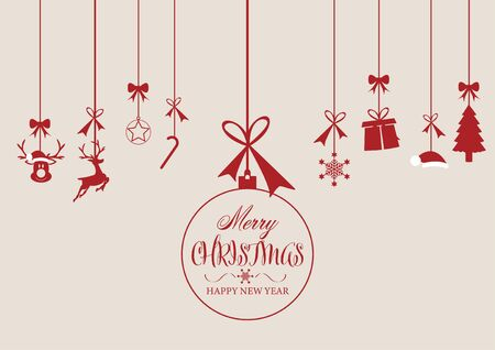 Christmas and Happy New Year greeting card background with christmas ornament hanging isolated background - Vector illustration.
