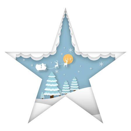 Merry Christmas Background, Christmas tree and santa claus, paper cut style. Vector illustration. Ilustração