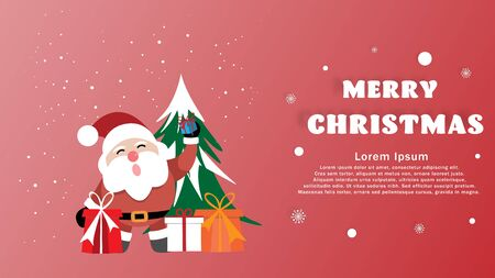 Merry Christmas and Happy New Year greeting card background with santa and gift box for Christmas celebrations with free text space - Vector illustration. Ilustracja