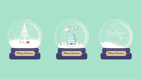 Set of Merry christmas snow globe collection green background. Vector illustration. Ilustração