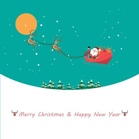 Christmas celebrations with Santa Claus riding reindeer sleigh Merry Christmas in winter - Vector illustration. 向量圖像