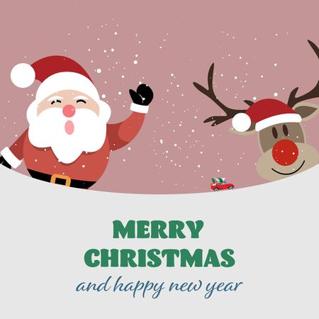 Merry Christmas and happy new year celebrations with Santa Claus and reindeer on winter background - Vector illustration.