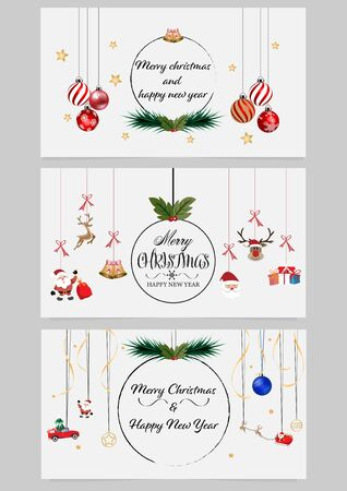 Merry Christmas and Happy New Year vector design for greeting cards and poster. Vector illustration