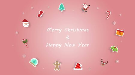 Merry Christmas and Happy New Year greeting card background with christmas ornament on pink background. Vector illustration.