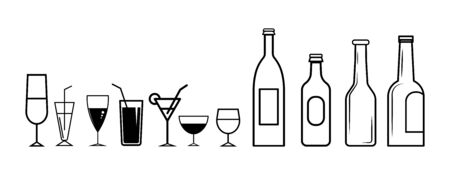 Set of drink lines icons on white background - vector illustration.