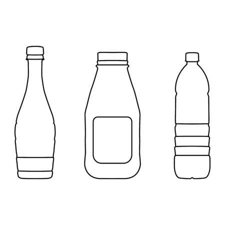 Bottle lines icons on white background - vector illustration.