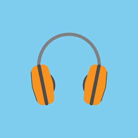 headphones base flat icon design - vector illustration. Stock Illustratie