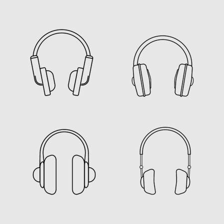 headphones base lines icon design - vector illustration.