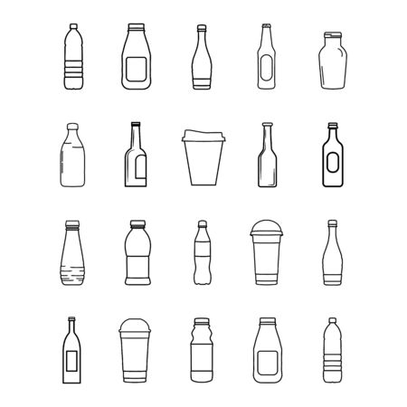 Set of bottle lines icons on white background - vector illustration. Vettoriali