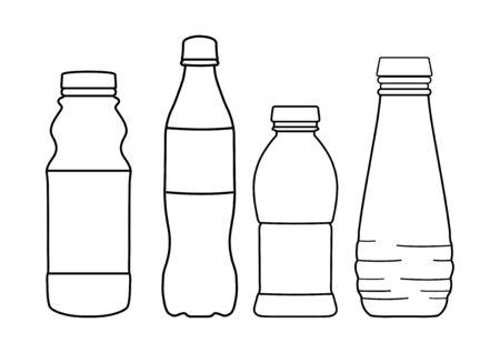Set of bottle lines icons on white background - vector illustration. Stock Illustratie