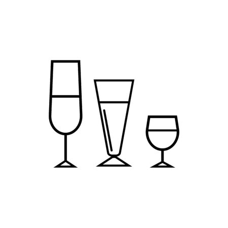 drink lines icons on white background - vector illustration. Stock Illustratie