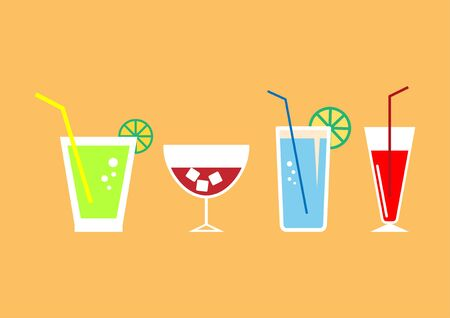 Set of drink icons - vector illustration.