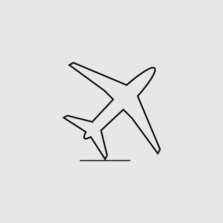 Airplane line icon design on gray background. Vector illustration.