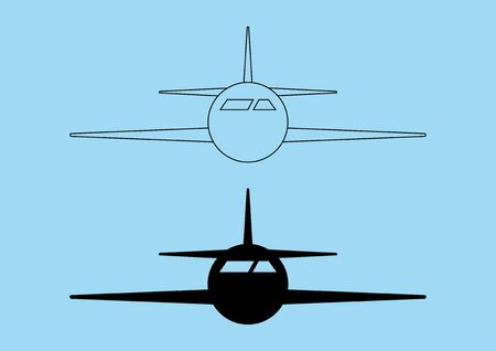 Airplane icon design on blue background. Vector illustration.