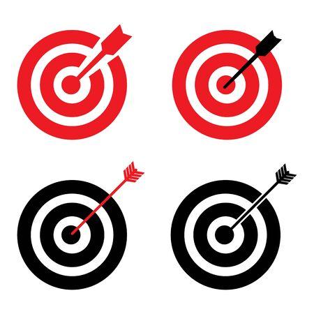 Target aim sign icon. Darts board flat icon design  - vector illustration.