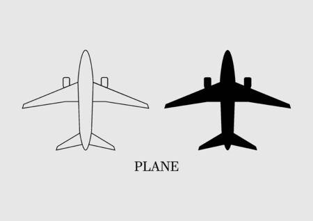 Airplane icon flat design on gray background. Vector illustration. Stock Illustratie