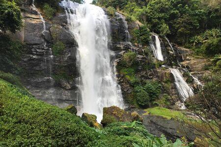 wachirathan waterfall at doi inthanon, Chiangmai Thailand - Beautiful waterfall landscape.