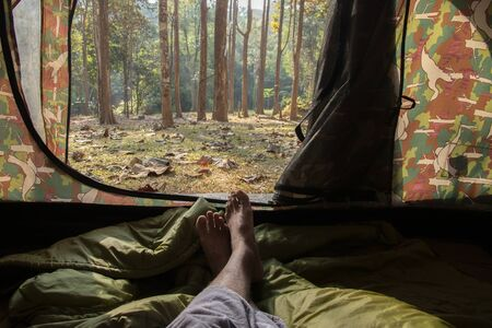 view from touristic tent in forest. Stockfoto