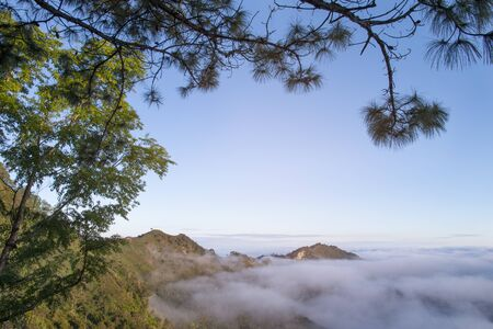 Mountain fog sky clouds landscape at the morning in thailand.