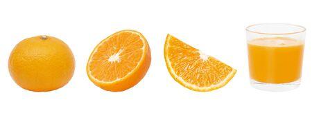Fresh orange fruit and orange slices with 100% orange juice isolated on white background. clipping paths.