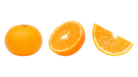 Fresh orange fruit and orange slices isolated on white background. Stockfoto