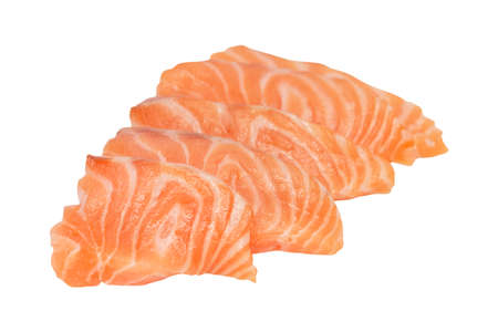 salmon slices isolated on white background.