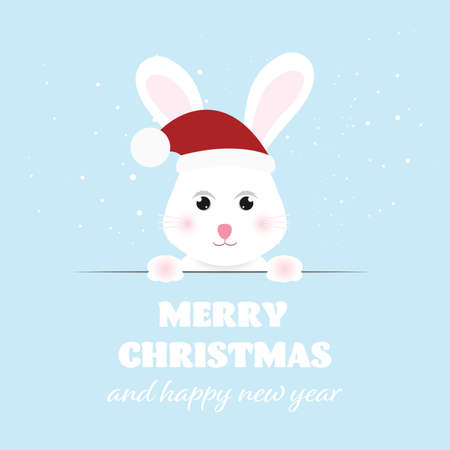 Merry Christmas and Happy New Year, Funny bunny with greeting card. vector illustration.