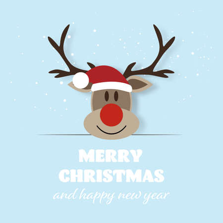 Merry Christmas and Happy New Year, Funny Reindeer with greeting card. vector illustration Stock Illustratie