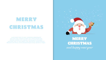 Santa Claus with signboard with free text space. Merry Christmas and Happy New Year background. Vector illustration. Stock Illustratie
