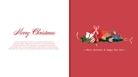 Christmas decoration with greeting card, Merry Christmas and happy new year - vector illustration. Stock Illustratie