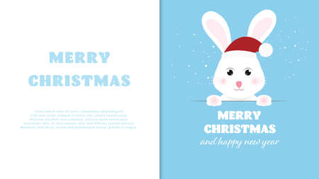 Funny bunny with signboard with free text space. Merry Christmas and Happy New Year background. Vector illustration.