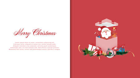 Christmas decoration and Santa Claus with greeting card, Merry Christmas and happy new year - vector illustration. Stock Illustratie