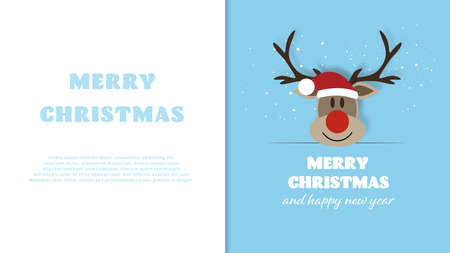 Reindeer with signboard with free text space. Merry Christmas and Happy New Year background. Vector illustration. Stock Illustratie