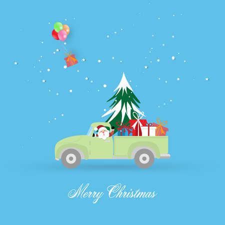 Merry Christmas and Happy New Year greeting card background with pickup truck with christmas tree and gift box - vector illustration.