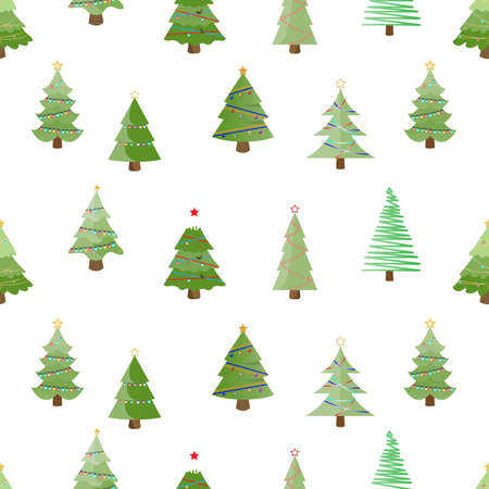 christmas tree seamless pattern. winter holiday decoration, christmas trees background. vector illustration. Stock Illustratie