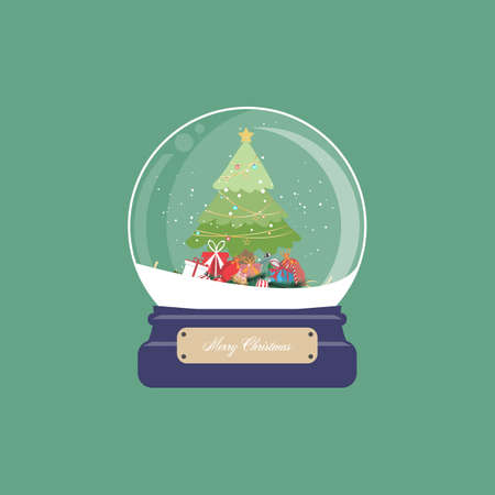 Christmas card with snow globe and christmas tree with gifts and ornament on green background. Vector illustration.