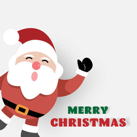 Merry Christmas and Happy New Year, Santa claus with greeting card. vector illustration