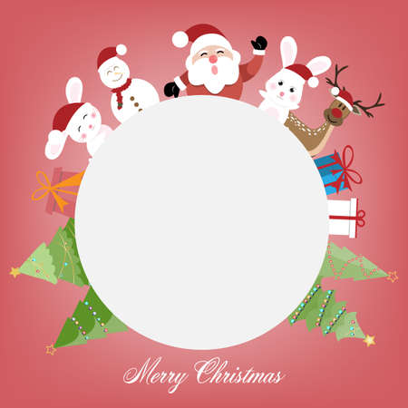 Christmas decoration greeting card template with blank sign. vector illustration.
