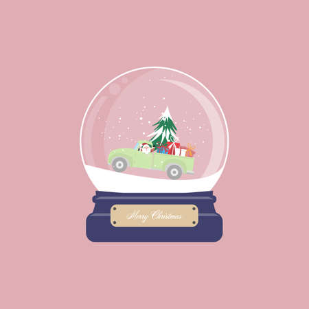 Christmas card with snow globe and santa claus drive pickup truck with christmas tree and gift box on pink background. Vector illustration.- vector illustration.