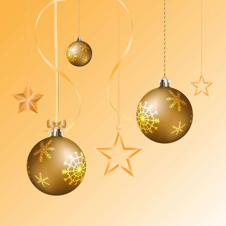 Golden realistic vector Christmas balls and glossy star hanging on the ribbon for decoration christmas and new year. - Vector illustration.