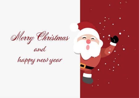 Merry Christmas and Happy New Year greeting card template with Santa claus with blank sign. vector illustration