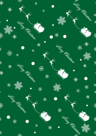 Christmas seamless pattern with Santa Claus and snowflakes on green background. vector illustration