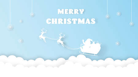 Christmas decoration greeting card template. Merry Christmas with santa claus riding sledge. paper cut. vector illustration.