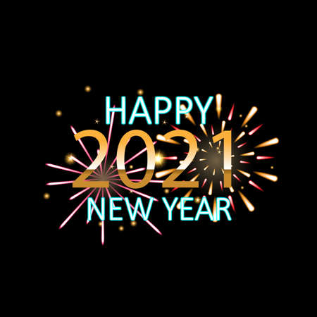 Happy New Year 2021, Holiday fireworks background. vector illustration.